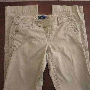 AEO Tan Size 2 Favorite Trouser Flair Leg